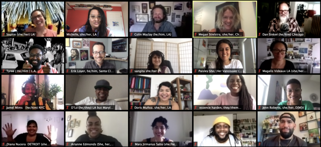 screenshot of Zoom gallery view showing civic media fellows and staff meeting virtually for the first time